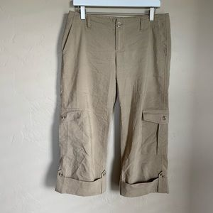 Banana Republic linen blend tan cropped pants